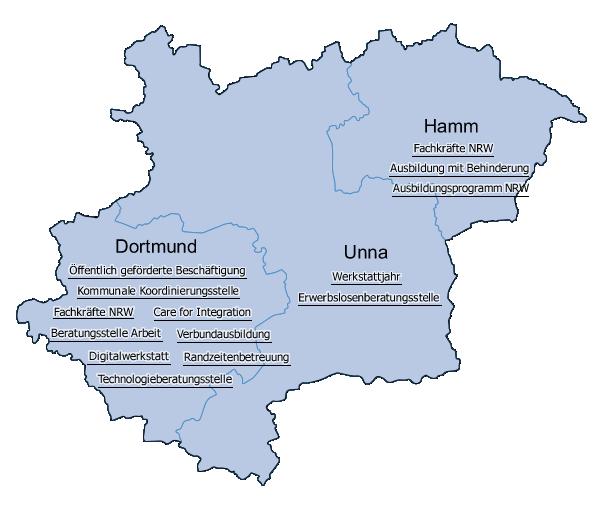 Karte Ruhrgebiet.Esf In Nordrhein Westfalen Gute Praxis Im Westfalischen
