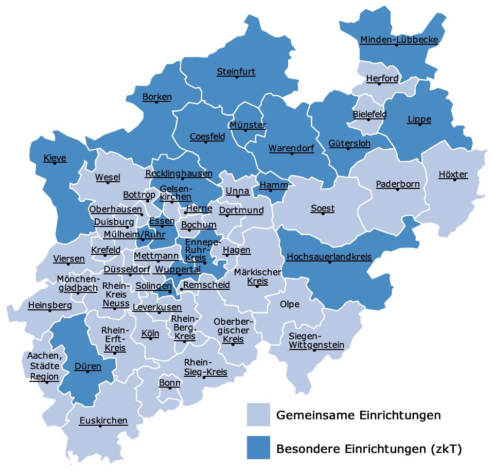 Nordrhein Westfalen Karte.Jobcenter In Nordrhein Westfalen Arbeit Gesundheit Soziales
