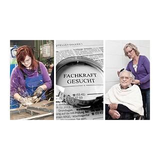 Foto: Drei zusammengeschnittene Fotos: Junge Frau an der Werkbank, Zeitungslupe, eine Dame frisiert einen älteren Herrn
