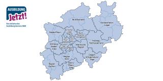 Landkarte mit 16 Arbeitsmarktregionen in NRW