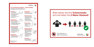 Grafik zeigt Plakatmotive zum Schutz vor dem Coronavirus