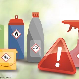Produkte aus dem Bau- und Supermarkt mit Gefahrensymbolen
