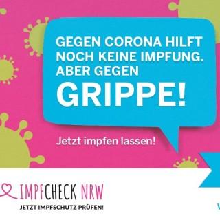 Bild mit Sprechblase: Gegen Corona hilft noch keine Impfung, aber gegen Grippe!