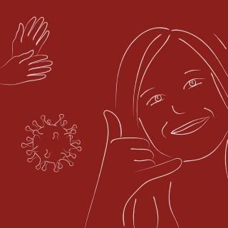 Zeichnung zeigt Frau mit Gebärde für Telefonieren und grafische Darstellung des Coronavirus