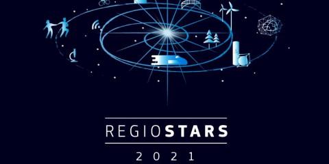 Logo RegioStars 2021 mit Logo EU-Kommission