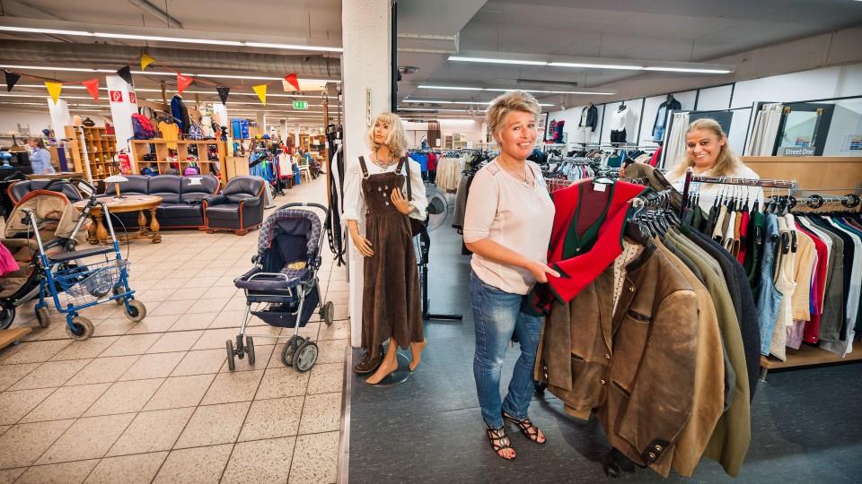 Foto: Überblick über die Verkaufsfläche mit Textilien, Möbeln, Deko-Gegenständen etc.