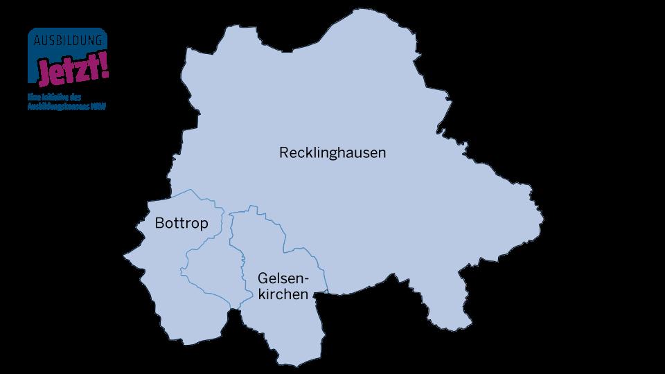 Karte Emscher-Lippe-Region