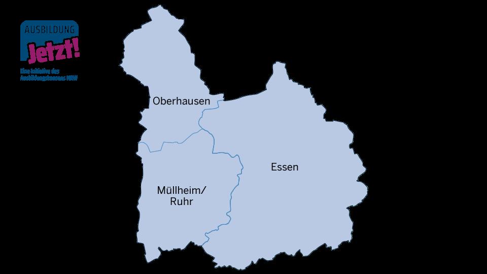 Karte MEO - Mülheim, Essen, Oberhausen