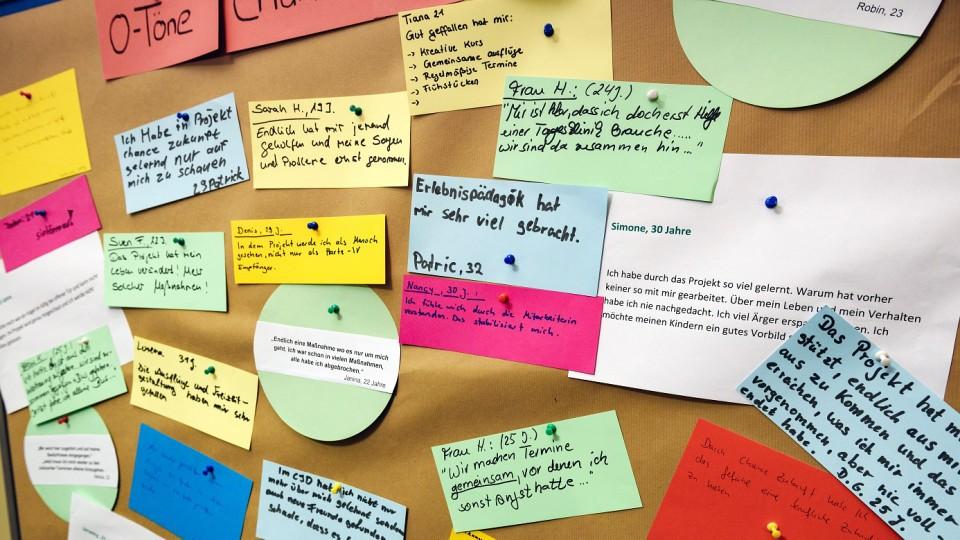 """Foto: Auf einer Stellwand waren O-Töne aus dem Projekt """"Chance Zukunft"""" dokumentiert"""