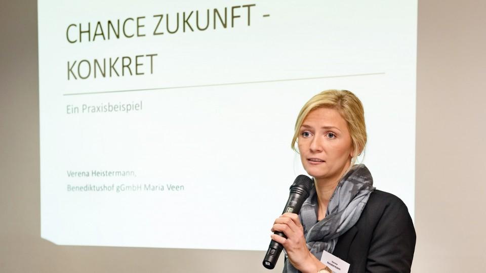 Foto: Verena Heistermann stellte die Projekterfahrungen beim Berufsbildungswerk (BBW) Benediktushof Maria-Veen vor