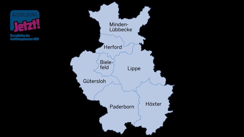 Landkarte mit der Arbeitsmarktregion Ostwestfalen-Lippe