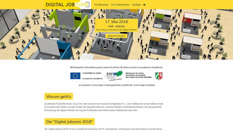 """Screenshot der Website """"Digital Jobzone"""""""