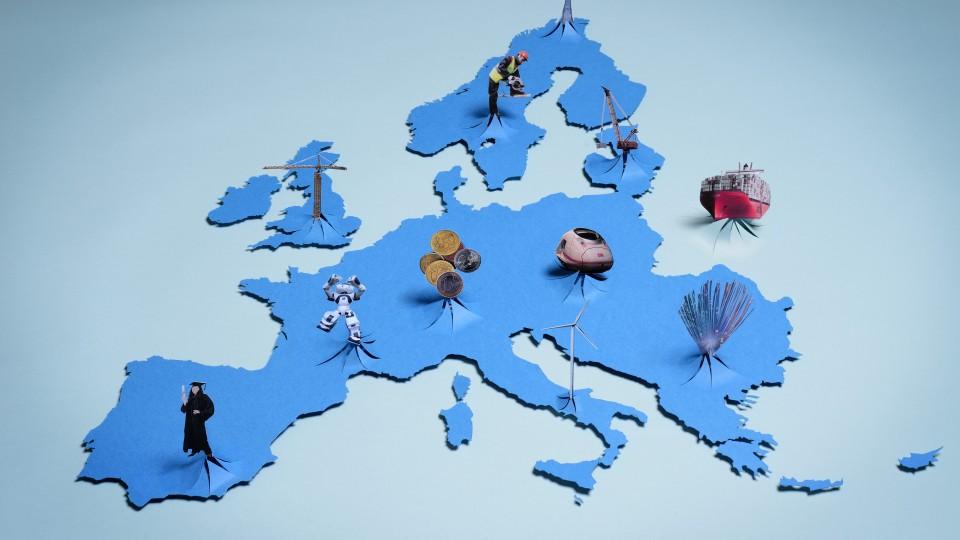 Landkarte Europa in Blau mit Grafiken zu Wirtschaftsbereichen