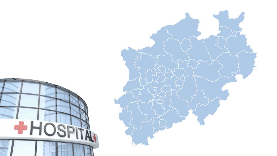 Bildmontage zeigt einen Krankenhauseingang sowie eine Landkarte mit den 53 Kreisen in NRW