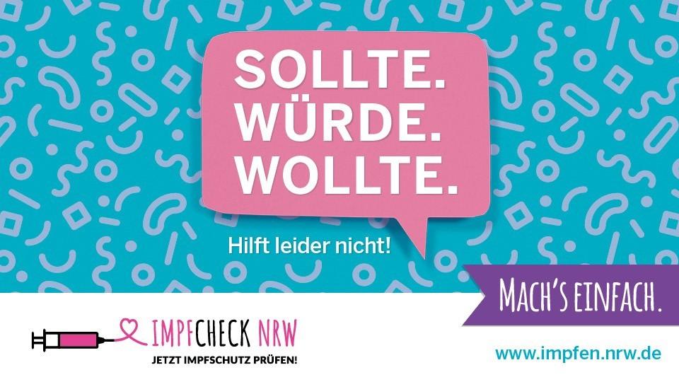 """Plakatmotiv zum Thema Impfschutz, Sprechblase mit """"Sollte. Würde. Wollte. Hilft leider nicht!"""""""