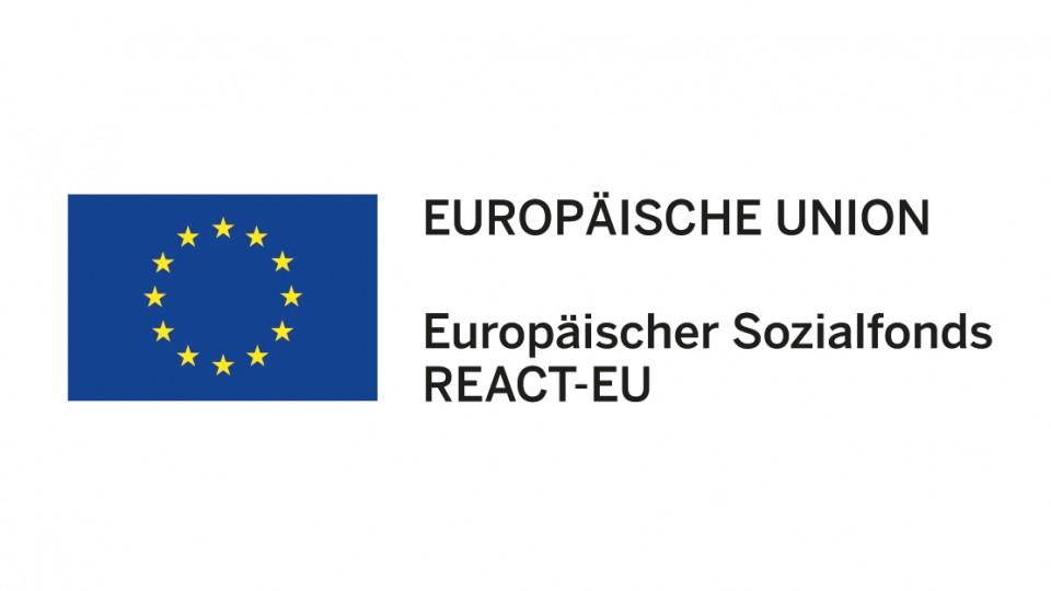 Logo der Europäischen Union/Europäischer Sozialfonds/ REACT-EU (gelbe Sterne auf blauem Hintergrund)