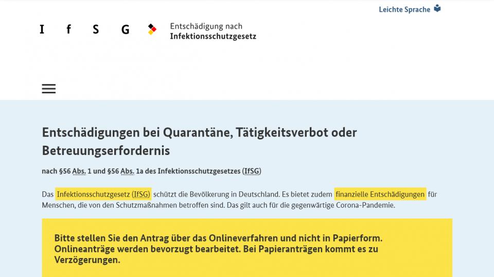 Bildschirmansicht Portal IFSG mit Logo und Text
