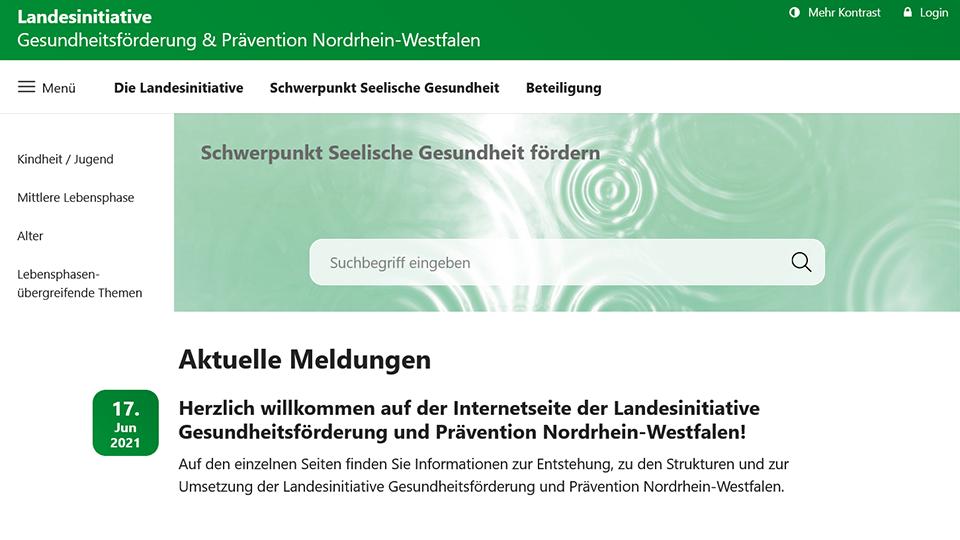 Screenshot der Internetseite zur Landesinitiative Gesundheitsförderung und Prävention in Nordrhein-Westfalen