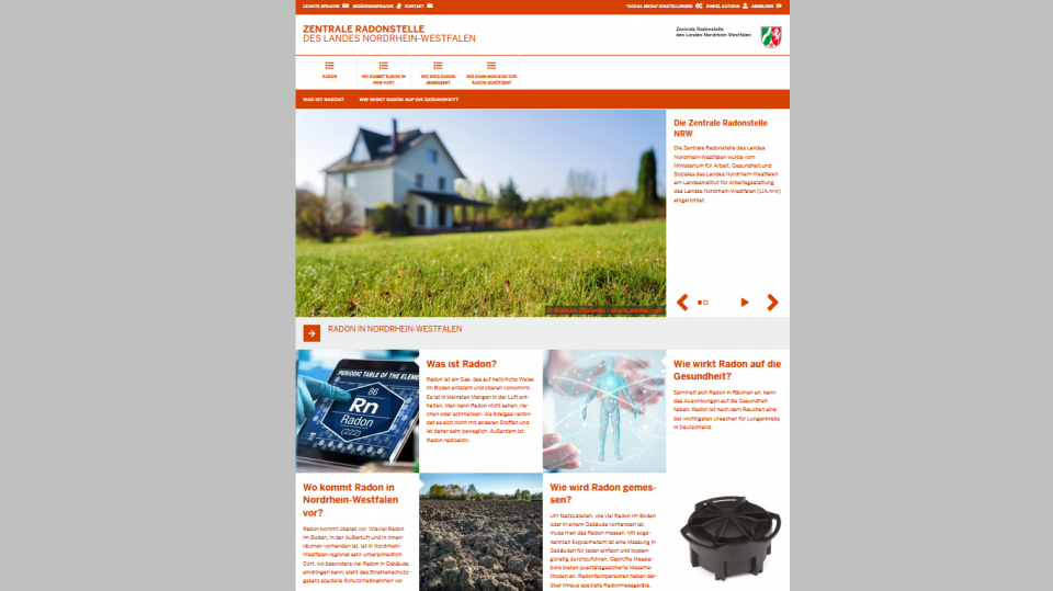 Screenshot Internetseite: Zentrale Radonstelle NRW